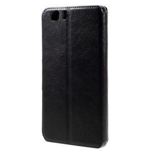 Peňaženkové PU kožené puzdro pre mobil Doogee X5 - čierne - 2