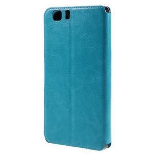 Peňaženkové PU kožené puzdro pre mobil Doogee X5 - modré - 2