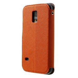 Pěněženkové pouzdro s okýnkem pro Samsung Galaxy S5 mini -  oranžové - 2