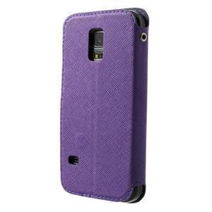 Peňaženkové puzdro s okienkom pro Samsung Galaxy S5 mini -  fialové - 2