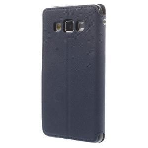 Stylové puzdro s okýnkem na Samsung Galaxy A5 - tmavo modré - 2