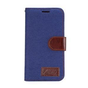 Jeans peňaženkové puzdro na Samsung Galaxy note 3 - tmavo modré - 2
