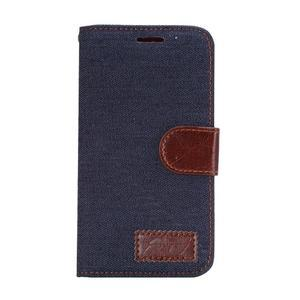 Jeans peňaženkové puzdro na Samsung Galaxy note 3 - černomodré - 2