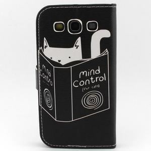 Peňaženkové puzdro pre mobil Samsung Galaxy S3 - mačička s knihou - 2