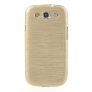 Brush gélový kryt pre Samsung Galaxy S III / Galaxy S3 - zlatý - 2