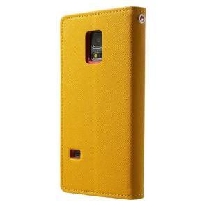 Diary PU kožené pouzdro na Samsung Galaxy S5 mini - žlutooranžové - 2
