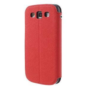Peňaženkové puzdro s okýnkem pre Samsung Galaxy S3 / S III - červené - 2