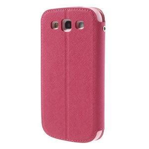 Peňaženkové puzdro s okýnkem pre Samsung Galaxy S3 / S III - rose - 2