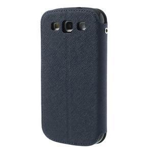 Peňaženkové puzdro s okýnkem pre Samsung Galaxy S3 / S III - tmavo modré - 2