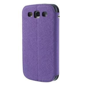 Peňaženkové puzdro s okýnkem pre Samsung Galaxy S3 / S III - fialové - 2