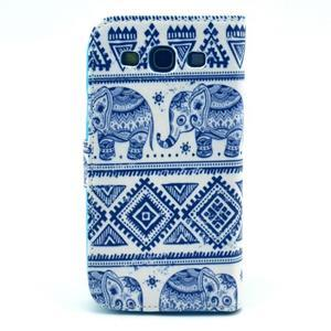 Peňaženkové puzdro pre mobil Samsung Galaxy S III - slony - 2
