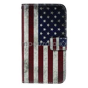 Koženkové puzdro pre mobil Sony Xperia E4 - US vlajka - 2