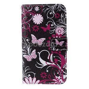 Koženkové puzdro pre mobil Sony Xperia E4 - motýľe - 2