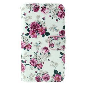 Koženkové puzdro pre mobil Sony Xperia E4 - ruže - 2