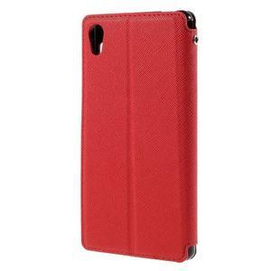Peňaženkové puzdro s okienkom pre Sony Xperia M4 Aqua - červené - 2