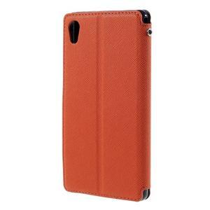 Peňaženkové puzdro s okienkom pre Sony Xperia M4 Aqua - oranžové - 2