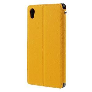Peňaženkové puzdro s okienkom pre Sony Xperia M4 Aqua - žlté - 2