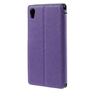 Peňaženkové puzdro s okienkom pre Sony Xperia M4 Aqua - fialové - 2