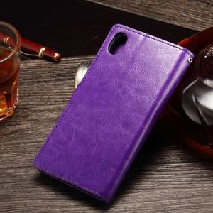 Koženkové pouzdro Sony Xperia M4 Aqua - fialové - 2