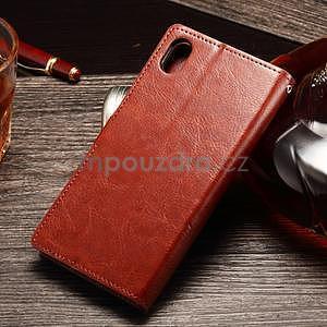 Koženkové pouzdro Sony Xperia M4 Aqua - hnědé - 2