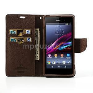 Fancy peněženkové pouzdro na mobil Sony Xperia Z1 - černé/hnědé - 2