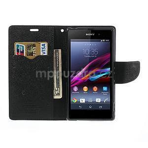 Fancy Peňaženkové puzdro pre mobil Sony Xperia Z1 - čierne - 2