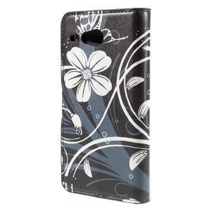Nice koženkové puzdro pre mobil Acer Liquid Z520 - biele kvety - 2
