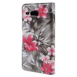 Nice koženkové pouzdro na mobil Acer Liquid Z520 - červené květy - 2