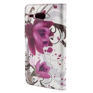 Nice koženkové pouzdro na mobil Acer Liquid Z520 - fialové květy - 2