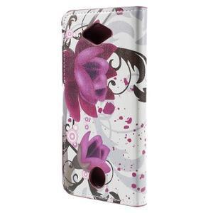 Valet peňaženkové puzdro pre Acer Liquid Z530 - fialové kvety - 2