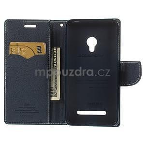 Azurové/tmavě modré peňaženkové puzdro na Asus Zenfone 5 - 2