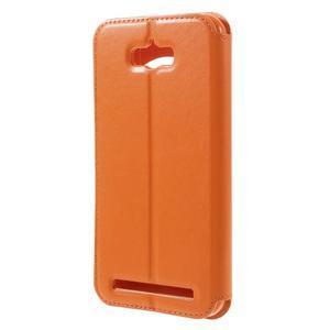 Luxusní puzdro s okienkom pre mobil Asus Zenfone Max - oranžové - 2