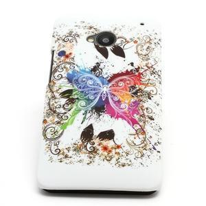 Plastový kryt na HTC One M7 -  barevní motýlci - 2