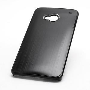 Broušený hliníkový plastový kryt pre HTC One M7 - čierny - 2