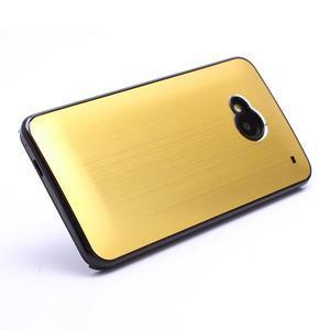 Broušený hliníkový plastový kryt na HTC One M7 - zlatý - 2
