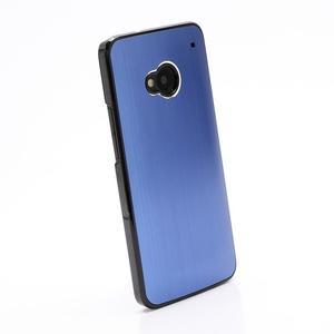 Broušený hliníkový plastový kryt pre HTC One M7 - modrý - 2