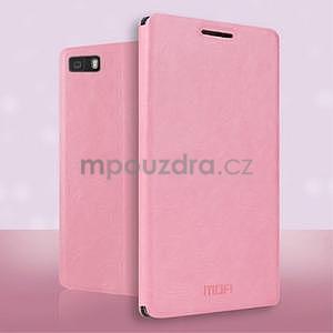 PU kožené pouzdro na Huawei P8 Lite - růžové - 2