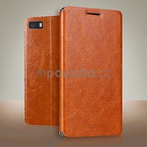 PU kožené pouzdro na Huawei P8 Lite - hnědé - 2