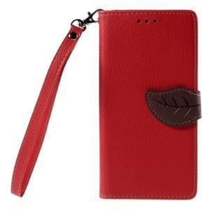 Zapínací PU kožené pouzdro na Huawei P8 Lite - červené - 2