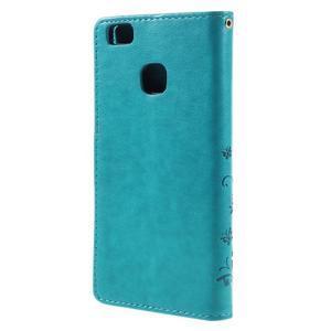 Butterfly PU kožené puzdro na Huawei P9 Lite - modré - 2