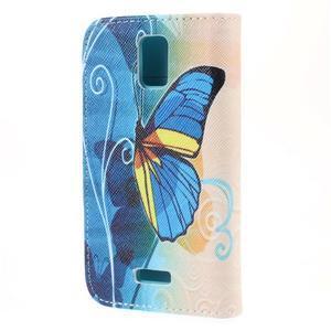 Peněženkové pouzdro na mobil Huawei Y3 a Y360 - modrý motýl - 2