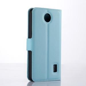 Modré zapínacie PU kožené puzdro na Huawei Y635 - 2