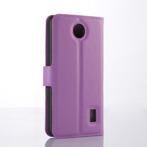 Fialové zapínacie PU kožené puzdro na Huawei Y635 - 2