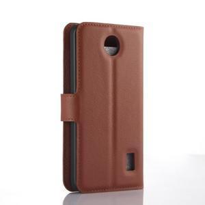 Hnedé zapínacie PU kožené puzdro na Huawei Y635 - 2