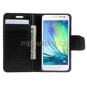 Čierné kožené peňaženkové puzdro pre Samsung Galaxy A3 - 2