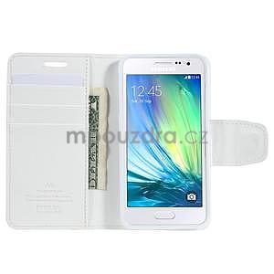 Bílé kožené peňaženkové puzdro pre Samsung Galaxy A3 - 2
