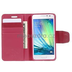 Rose kožené peňaženkové puzdro na Samsung Galaxy A3 - 2