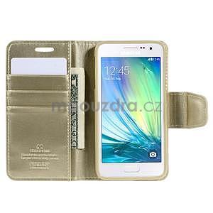 Zlaté kožené peňaženkové puzdro na Samsung Galaxy A3 - 2