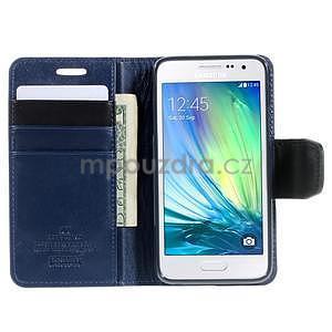 Tmavě modré kožené peňaženkové puzdro na Samsung Galaxy A3 - 2
