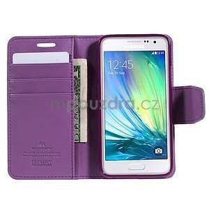 Fialové kožené peňaženkové puzdro pre Samsung Galaxy A3 - 2